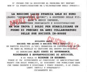 Precari a scadenza contestano la Polverini e il cda di Sviluppo Lazio