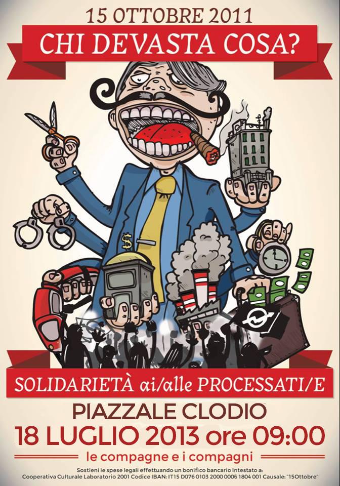 18 Luglio | Presidio di Solidarietà con gli imputati del 15 Ottobre