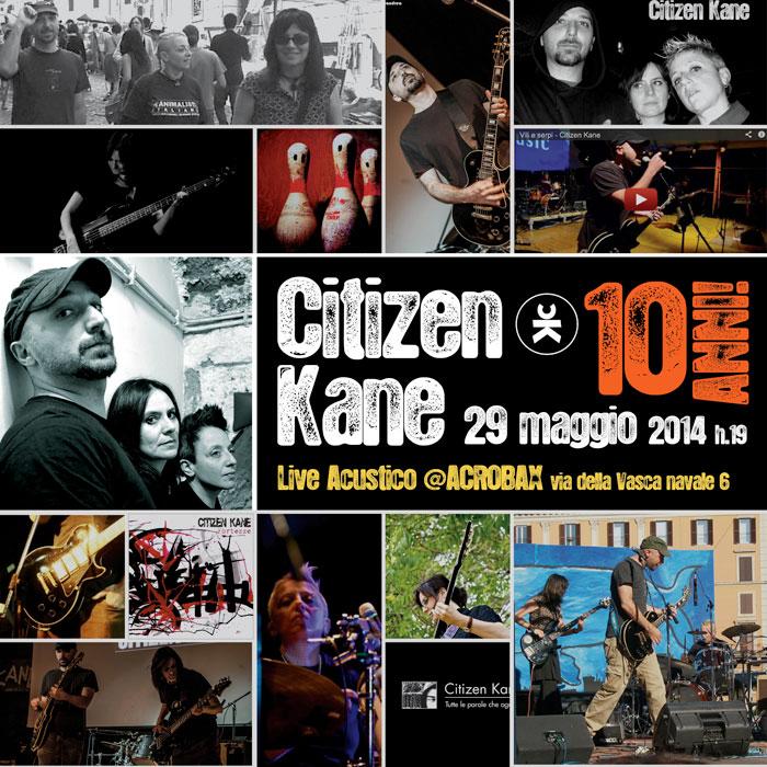 Giovedi 29 Maggio | Citizen Kane 10 anni live acustico