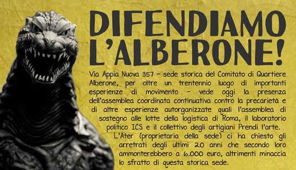 Venerdi 5 Dicembre   Difendiamo l'Alberone. Cena sociale e concerto