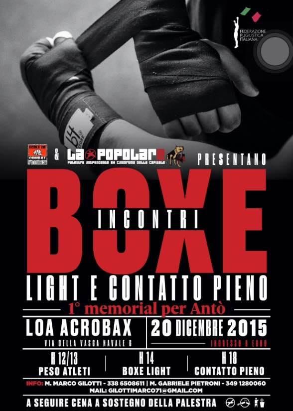 Domenica 20 Dicembre | Incontri di Boxe a sostegno de La Popolare