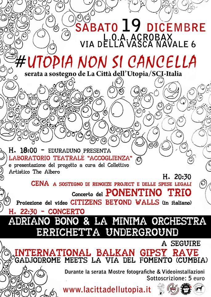 Sabato 19 Dicembre | #UtopiaNonSiCancella