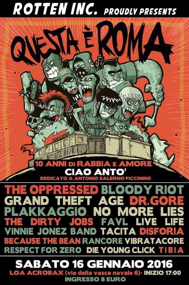 16 Gennaio questa è Roma!2016 Punk oi! Hc Fest