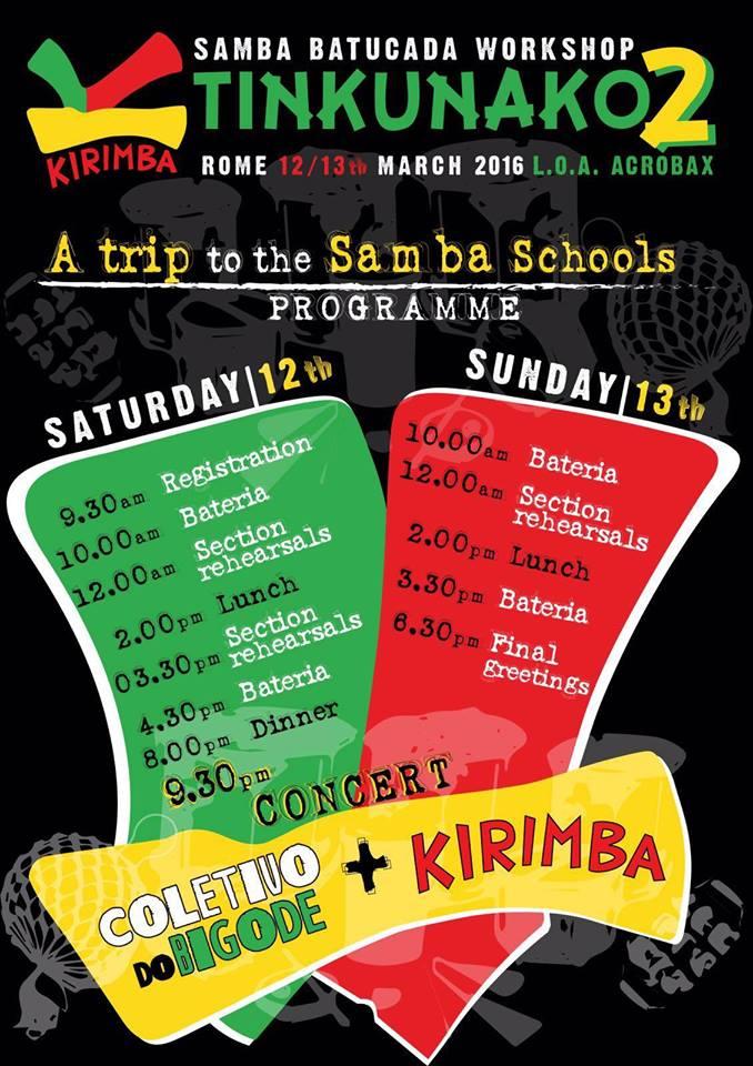 Sabato 12 e Domenica 13 Marzo/TINKUNACO 2 - Batucada Samba Workshop