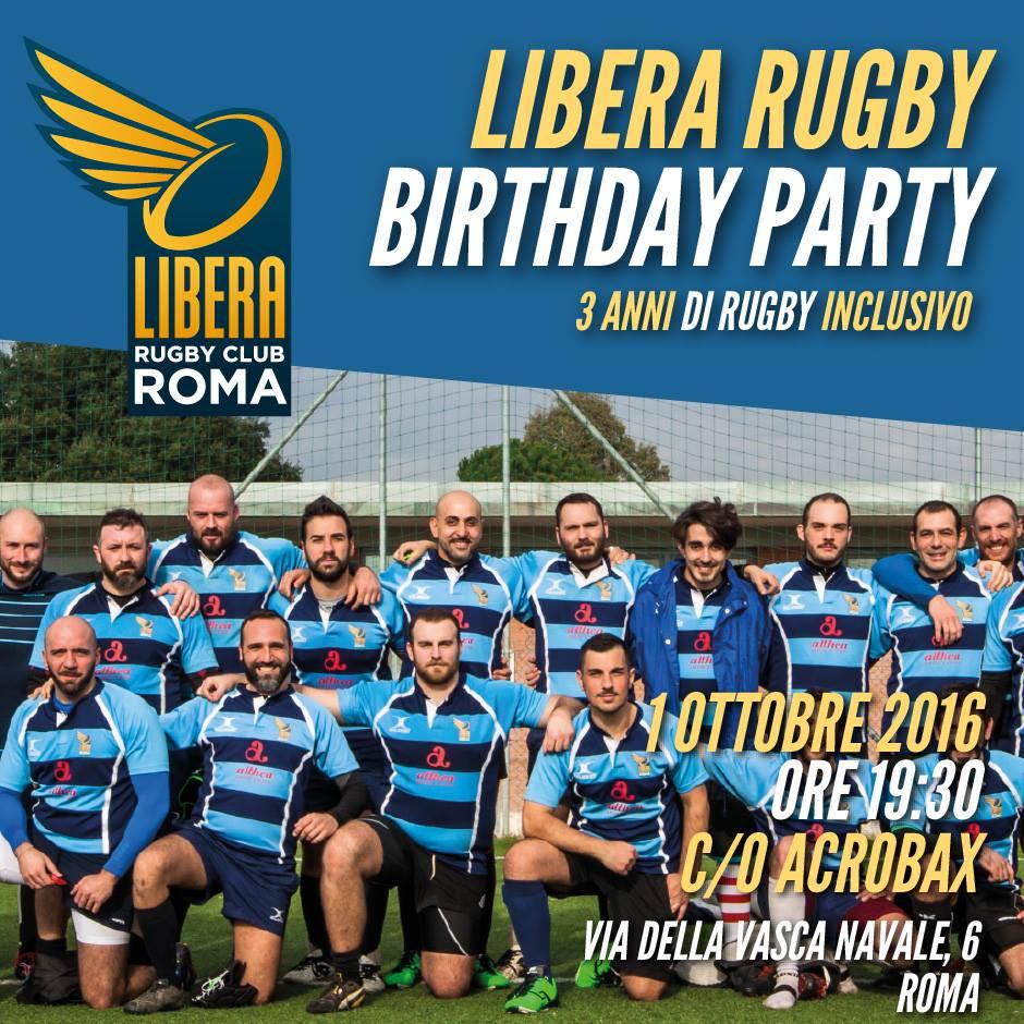 Sabato 1 ottobre/Aperitivo di compleanno Libera Rugby