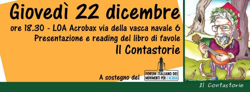 """Giovedì 22 dicembre/  Il """"Contastorie"""" presentazione e reading di fiabe"""