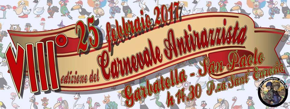 Sabato 25 Febbraio/ Carnevale antirazzista