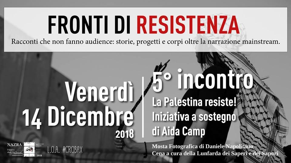 Venerdì 14 dicembre/ Fronti di Resistenza in Palestina a sostegno di Aida Camp
