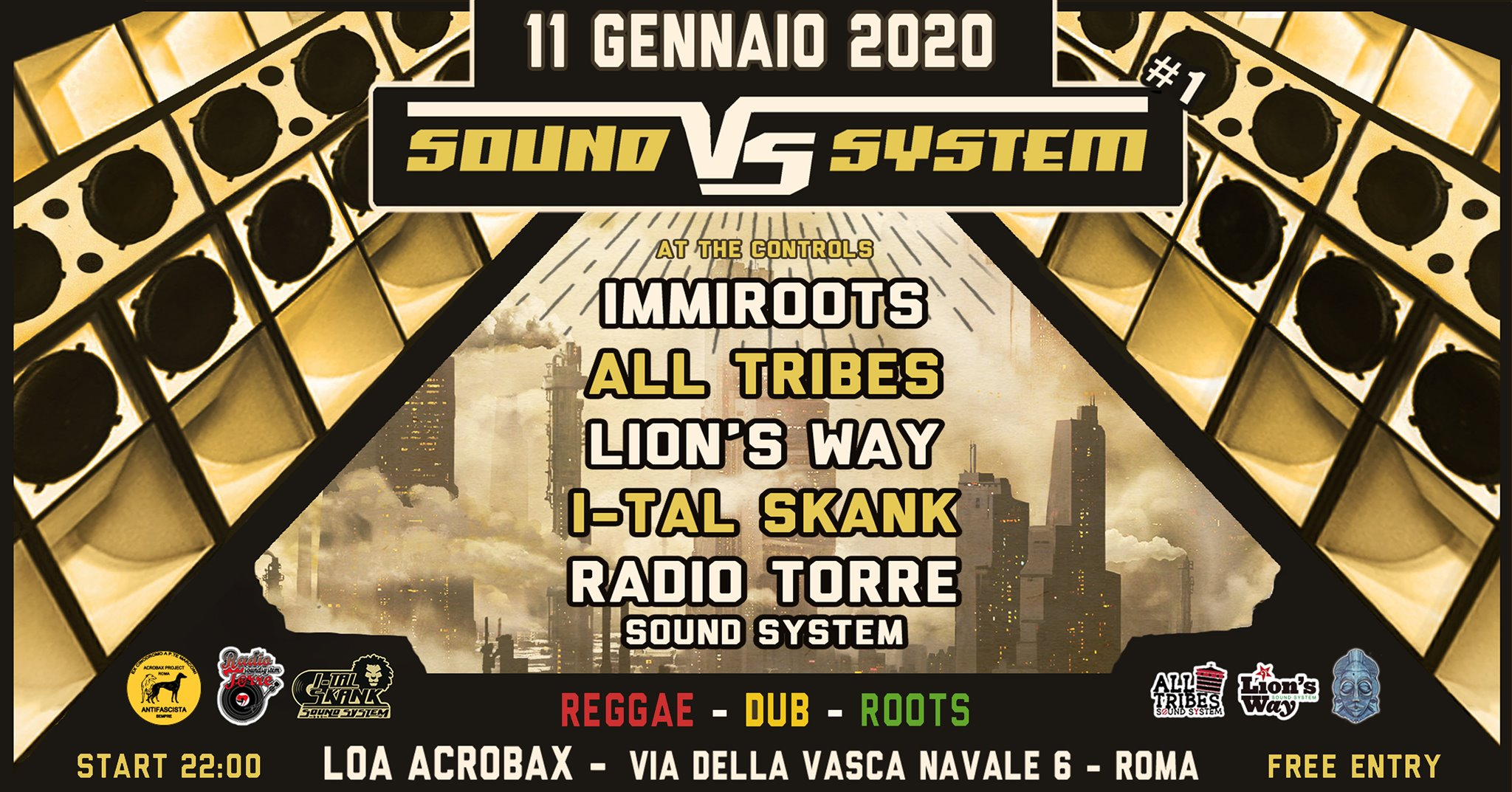 Sabato 11 gennaio/Sound VS System #1 - Soundsystem Dancehall against Babylon!